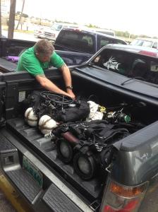 Carl stowing gear.